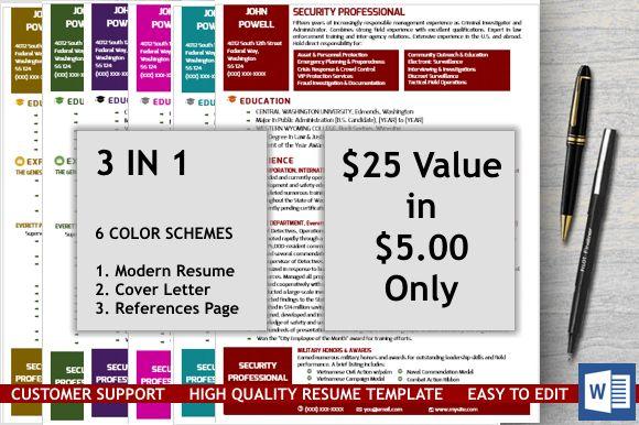 Modern Resume Template In Word Modern resume template, Modern - security professional resume