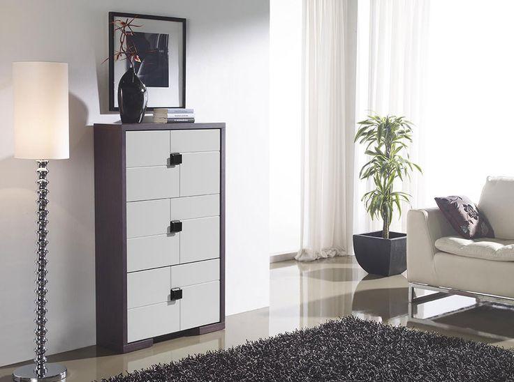 meuble chaussures contemporain rover coloris c dre gris et laqu blanc meuble chaussures