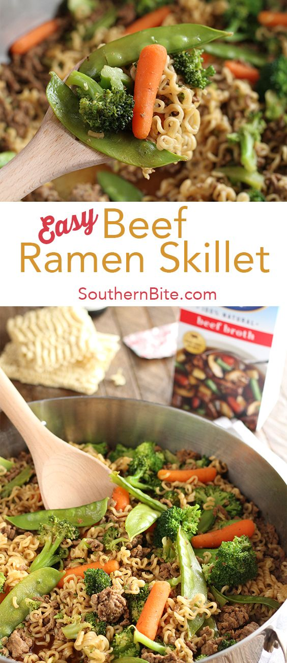 Six simple and affordable ingredients are all it takes to make this super Easy Beef Ramen Skillet!