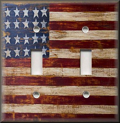 Details About Light Switch Plate Cover Rustic Primitive American Flag Wood Image Home Decor