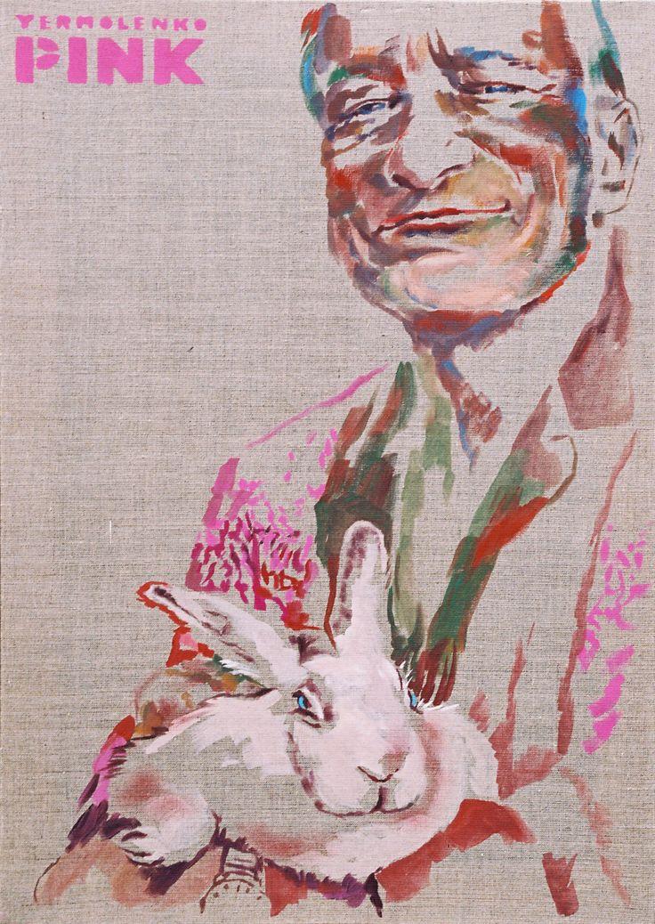 "Yury Ermolenko, ""Hugh Hefner"", (""PINK"" series), 2007, acrylic on not primed canvas, 80x55cm. #YuryErmolenko #еrmolenko #ЮрийЕрмоленко #yuryermolenko #юрийермоленко #юрiйєрмоленко #ЮрiйЄрмоленко #rapanstudio #acrylicpainting #ErmolenkoYury #acrylic #color #портрет #picture #canvas #portrait #art #creative #fineart #visualart #contemporaryart #modernart #PINK #texture #canvastexture #colorful #painting #glamorous #lovely #cute #sexy #hot #sensual #HughHefner #Hugh #Hefner #rabbit #живопись"