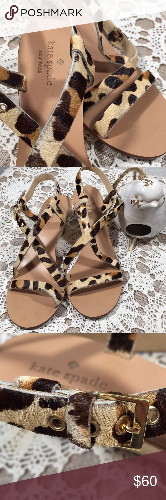 Kate Spade pony hair leopard print wedge sandals Kate Spade   Wooden wedge heel sandals with pony hair leopard print. Buckle straps. These are so fun! Size 7.5 minor signs of wear.  I ❤️ OFFERS! kate spade Shoes Wedges