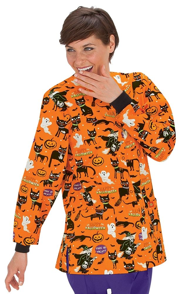 scrubs dickies everyday cotton a purr fect halloween crewneck scrub jacket halloween nursing srubs medical uniforms - Halloween Scrubs Uniforms