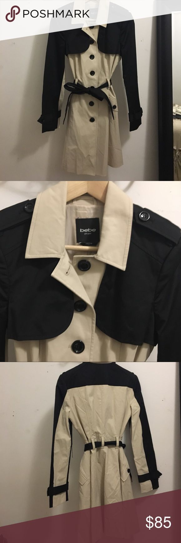 Brand new two-toned Bebe belted trench coat. Super cute, tan and black trench coat with belt. bebe Jackets & Coats Trench Coats
