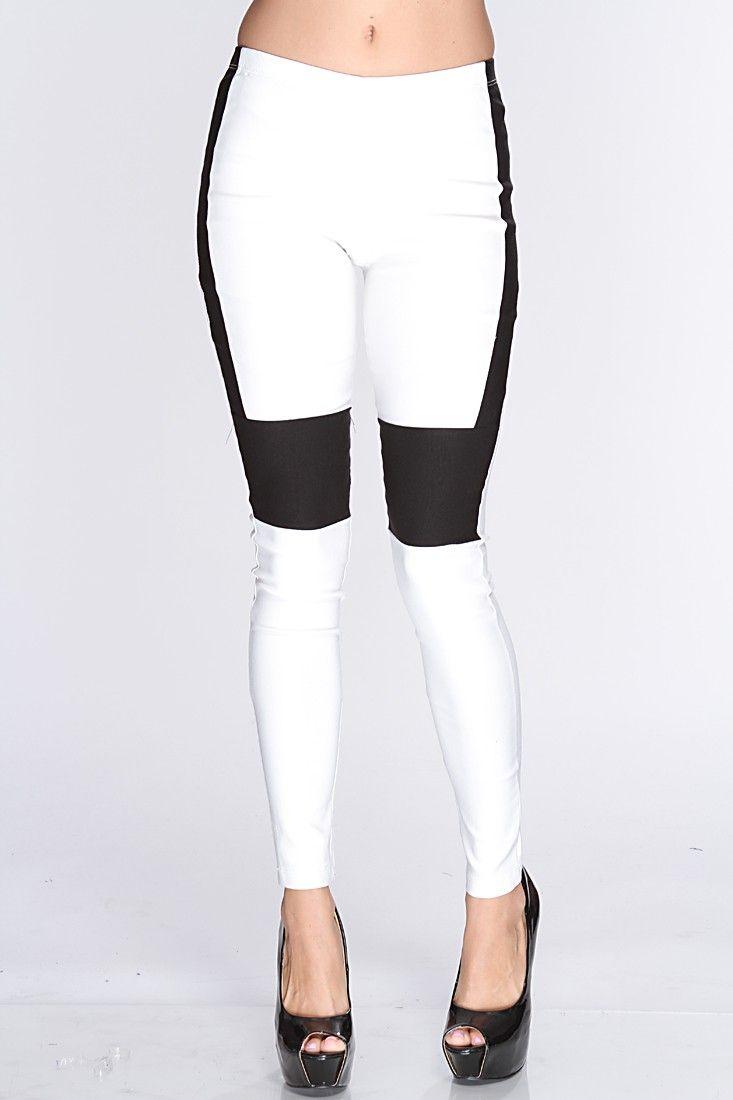 White Black Two Tone Leggings | Fashion - Leggings