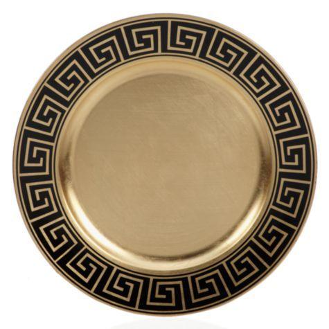 Greek Key Charger - Black u0026 Gold - Set of 4 - 31.80 from Z Gallerie  sc 1 st  Pinterest & 68 best China || Greek Key Pattern Dinnerware Flatware Glassware ...