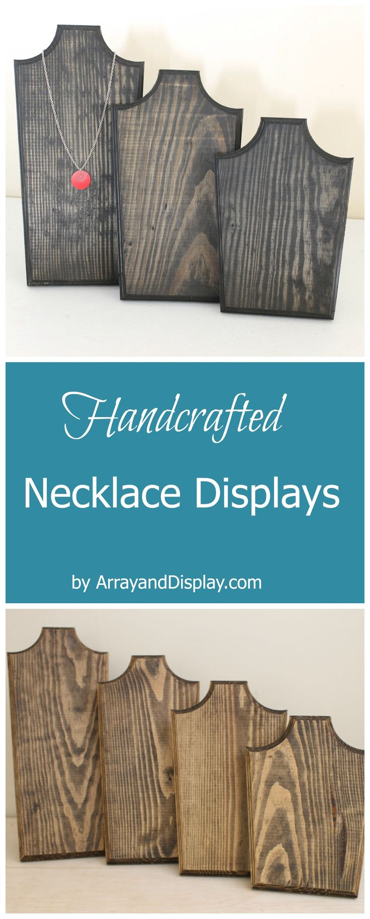 Handcrafted jewelry displays made of locally sourced new and reclaimed wood. Handcrafted in the USA by ArrayandDisplay.com. Necklace displays, necklace stands, necklace busts, booth displays, boutique displays, craft market displays.