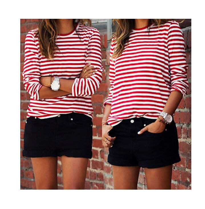 2018 Lente & Fall Casual Rood Wit Gestreepte T-Shirts Lange Mouw Vrouwen shirts Katoen Losse Shirt Tops truien Hot Selling