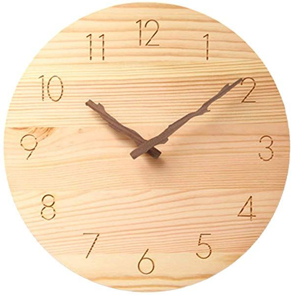 Justup Wood Wall Clock Silent Non Ticking 10 Inch Quality Quartze Battery Operated Round Wall Clock Whisper In 2020 Clock Wall Decor Wall Clock Silent