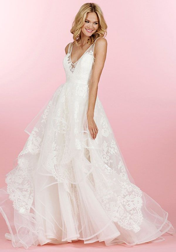New Simple Beaded Lace Satin Full Length A line Informal Wedding Dress W