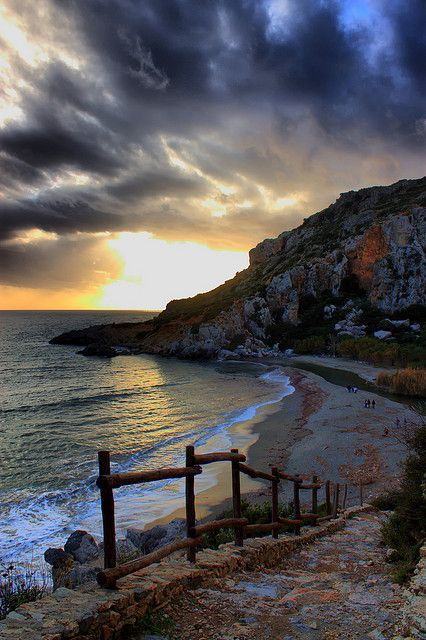 Preveli beach on the south coast of the island  Crete, Greece