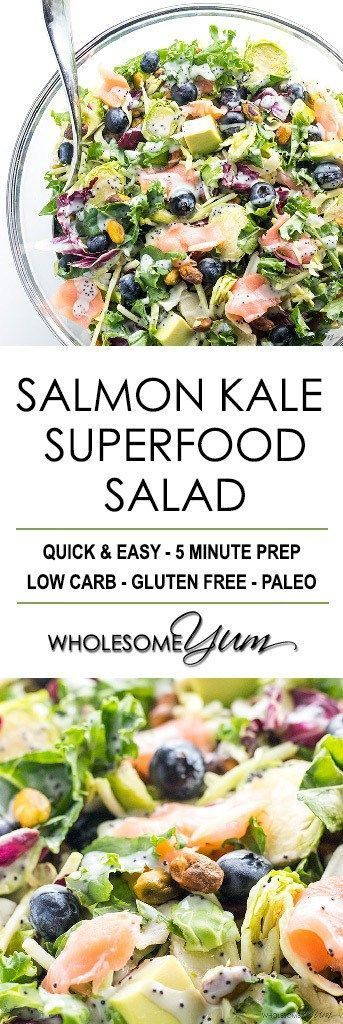 Salmon Kale Superfood Salad Recipe with Creamy Lemon Vinaigrette - Easy sweet kale superfood salad with lemon vinaigrette, smoked salmon and avocado is like a better Costco kale salad. 5 ingredients, plus 5 in the dressing!