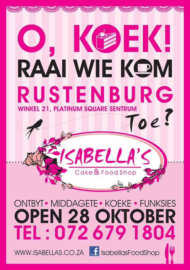 Isabella's Cake & Food Shop OPENING on 28 October 2013 in Platinum Square!