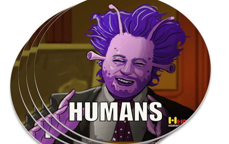 Human Aliens Guy History Meme Novelty Coaster Set