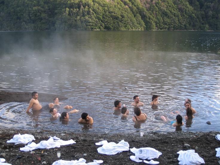 Hot Spring Lake - Termas Del Lago - at Huilo Huilo in southern Chile See: http://www.huilohuilo.com/en/activities/hot-spring-lake