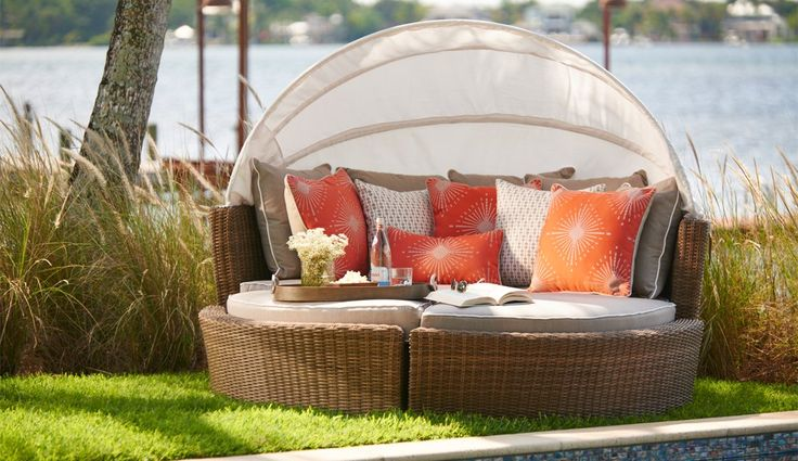 This luxurious outdoor day bed is heaven! Plush and modular, the Malibu Day Bed can be used together or pulled apart. Includes canopy, 2 bench seats, an ottoman and UV protected Sunbrella® cushions and pillows. Customize your look with 3 different types of outdoor wicker and a selection of design fabrics to choose from at CarlsPatio.com.