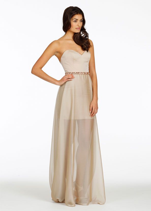 Not the dress itself (yeah, it's cool and summery, but I want real full-length gowns), but I do love the color. It's a pretty great champagne. Not sure what it's called in their swatches though. Noir By Lazaro Bridesmaids and Special Occasion Dresses Style NZ3436 by JLM Couture, Inc.