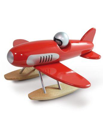 Segelflugzeug aus Holz in rot