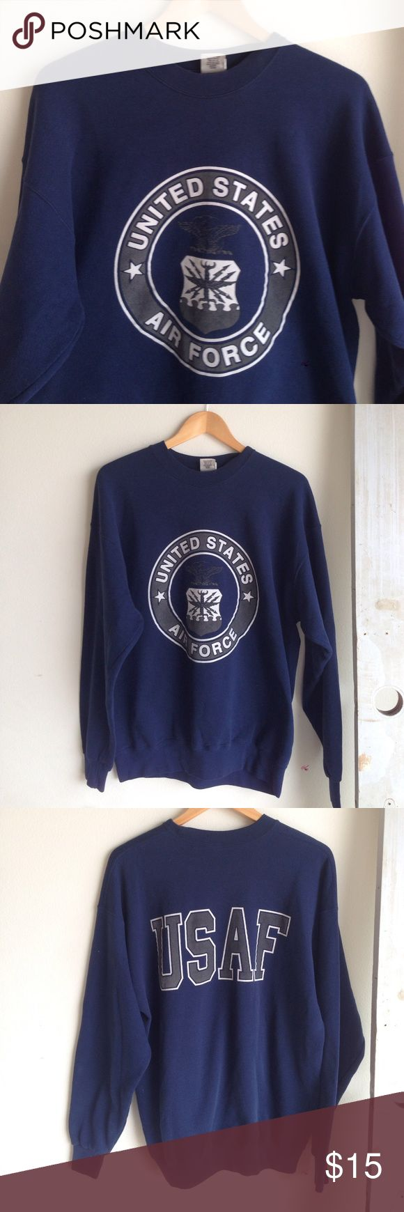 Vintage Air Force sweatshirt Like new condition. Vintage United States Air Force sweatshirt. Navy blue. Very soft and comfortable. Size XL. A good gift or a really cute oversized sweatshirt. vintage Jackets & Coats