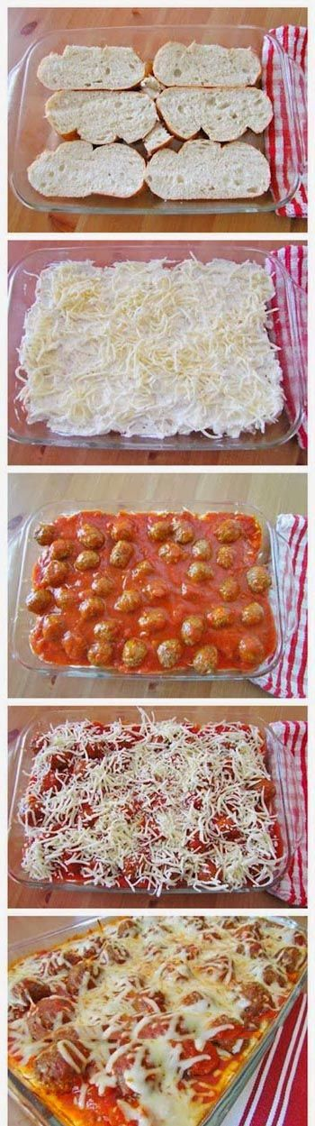 Meatball sub casserole recipes. It requires a few steps, but it makes a lot of food. If you're having a good day, make a pan, cut it into individual servings, and pop it in the freezer.