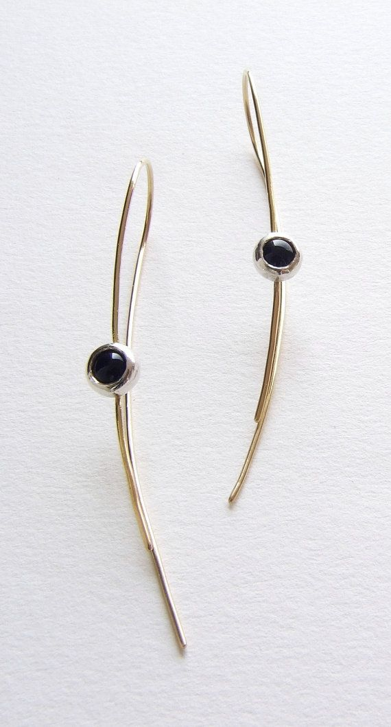 Edith Toledano - Black onyx earrings in 18K yellow gold and 999 fine silver.