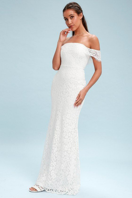 8779d19928 Romantic Heart White Lace Off-the-Shoulder Maxi Dress | Photo Tres ...