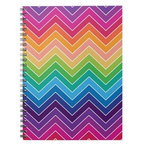 Rainbow Chevron Pattern Modern gifts Spiral Note Book