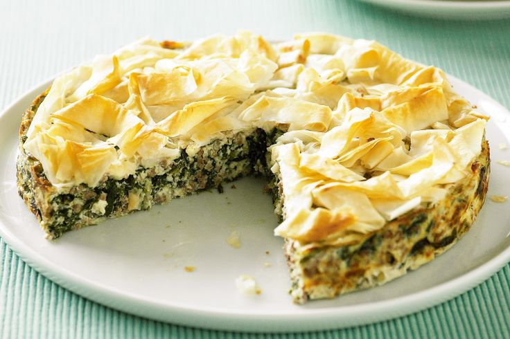 Spinach, lamb and cheese pie http://www.taste.com.au/recipes/19681/spinach+lamb+and+cheese+pie