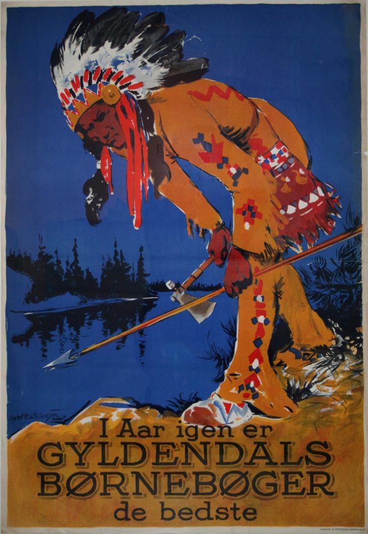Cowboys og indianer-bøger for raske drenge. Original retro-plakat fra Forlaget Gyldendals gemmer.