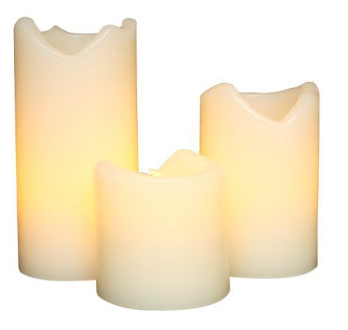 Gerson Company Everlasting Glow Flameless Ivory Wax Candles with Drip Effect. Love these - no mess, no worry!