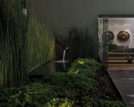 moderne terrasse bambuspflanzen arten wasserspiel beleuchtung nacht