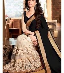 Buy White embroidered georgette saree with blouse half-saree online