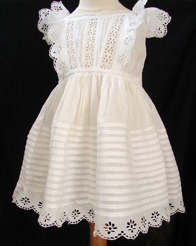 Maria Niforos - Fine Antique Lace, Linens & Textiles : Antique Christening Gowns & Children's Items # CI-105 Lovely 19th C. Child's Dress w/ Broderie Anglais