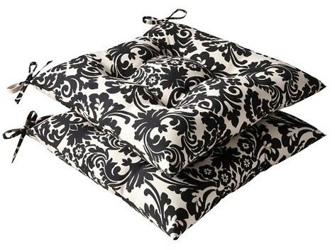 Pillow Perfect 2-Piece Outdoor Tufted Seat Pad/Dining/Bistro Cushion Set - Black/Cream Floral