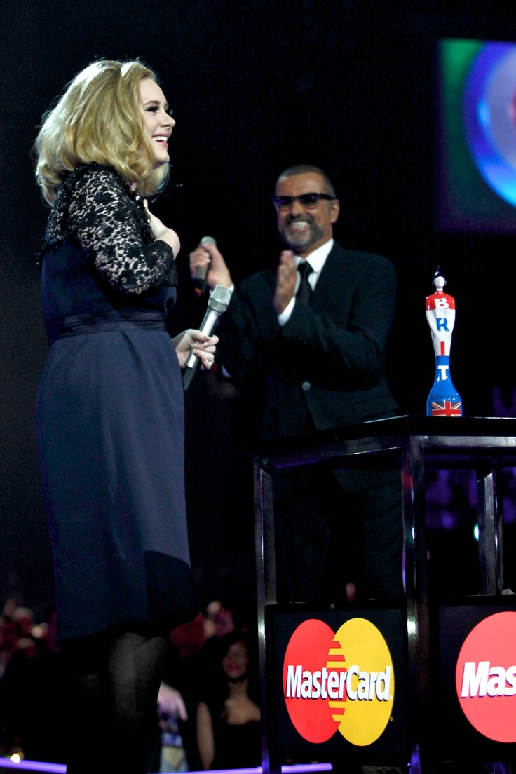 George Michael presents the Mastercard Top Album Award at the Brits