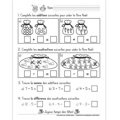 Fichier PDF téléchargeable En noir et blanc seulement 1 page  En première partie, les élèves complètent les additions et les soustractions illustrées. En deuxième partie, ils trouvent le résultat des additions et des soustractions données.