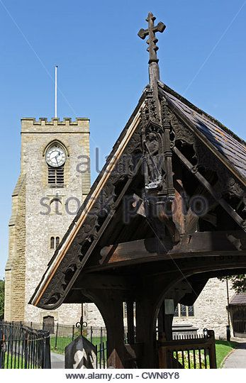 The Victorian lychgate at the entrance to St Michael's Parish Church in Abergele, North Wales - Stock Image