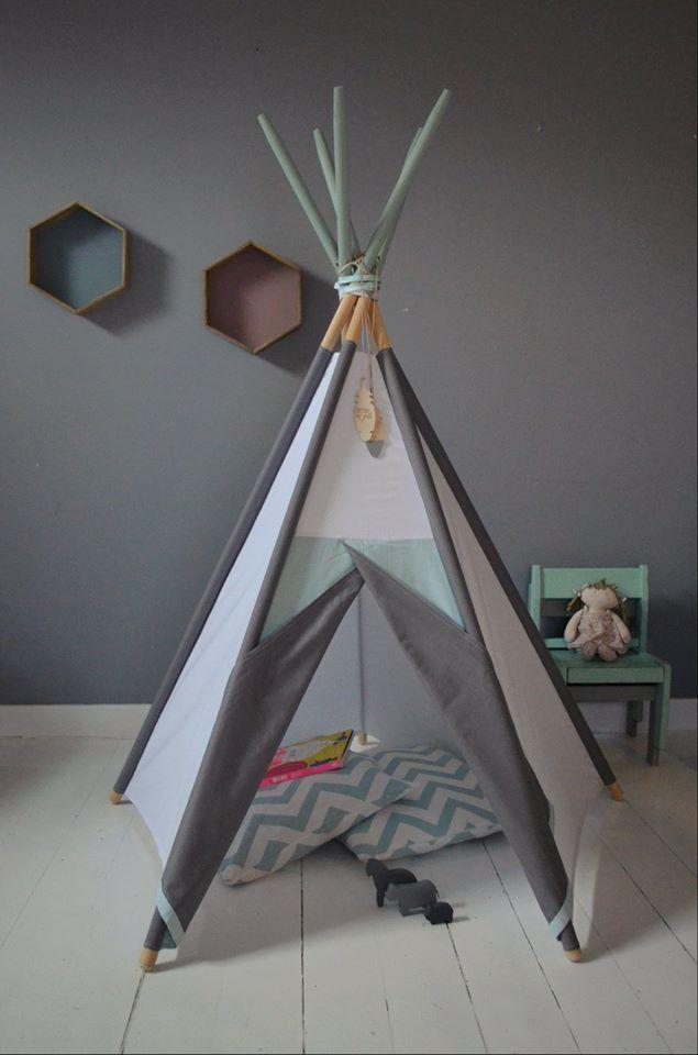 Tipi Namiot do pokoju dziecięcego Mint, Grey, White