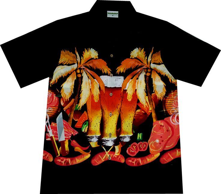 """Hawaiihemd """"Bier & Tier"""", exklusiv für alle Grillfreunde bei Hawaiihemdshop.de"""