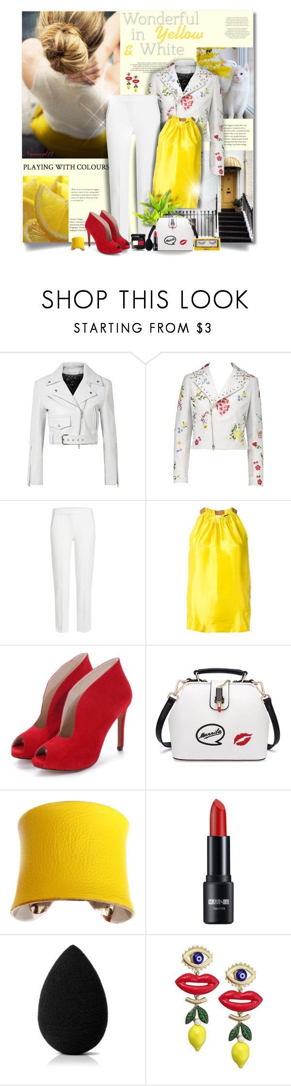 """""""Wonderful in Yellow & White..."""" by nannerl27forever on Polyvore featuring Poesia, Calvin Klein 205W39NYC, MaxMara, Erika Cavallini Semi-Couture, UNEARTHED, beautyblender and Tory Burch"""