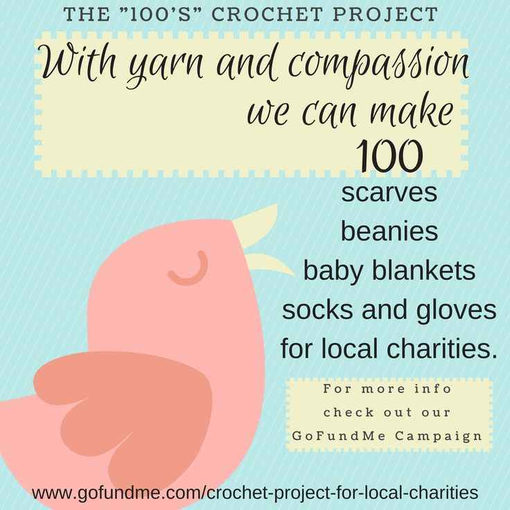 We're a small group of crocheters who crochet year round and donate our scarves, beanies, blankets etc. to local charities. We hope you can spare a dollar or two. Thanks.