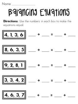 A bunch of balancing equations worksheets and activities