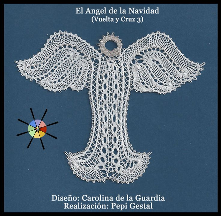 """El Ángel de la Navidad"", de la revista de bolillos Vuelta y Cruz Nº3. --- ""Christmas Angel"", from N.3 of Twist and Cross bobbin lace magazine."