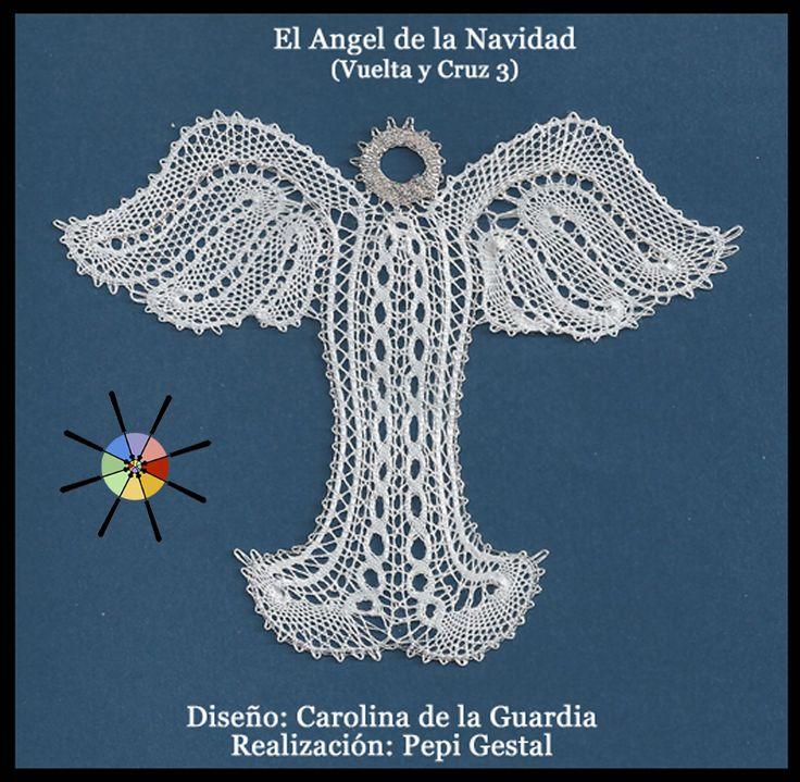 """""""El Ángel de la Navidad"""", de la revista de bolillos Vuelta y Cruz Nº3. --- """"Christmas Angel"""", from N.3 of Twist and Cross bobbin lace magazine."""