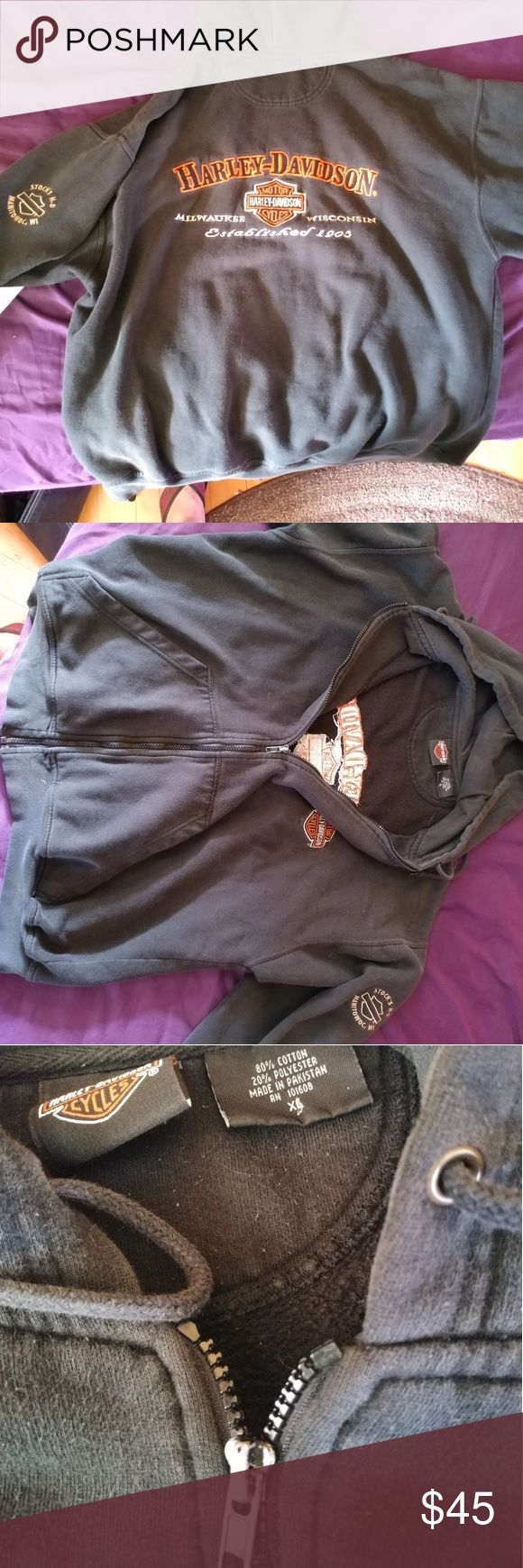 Harley Davidson XL women's hoodie Used hoodie, love it but it's a little too short for my liking, I like long hoodies. Absolutely nothing wrong with it. Zipper paint is chipping but works perfectly. No stains, holes, or rips. Price is negotiable, and I have other Harley apparel in my closet! Thank you for looking! Harley-Davidson Tops Sweatshirts & Hoodies