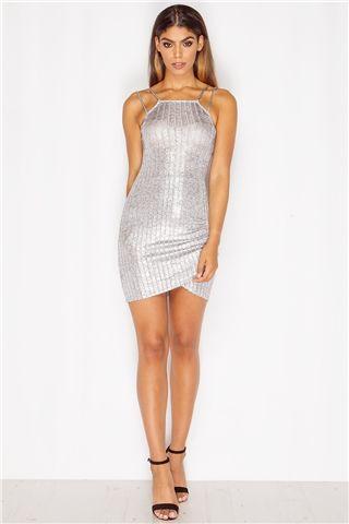 Serena Silver Ribbed Metallic Mini Dress