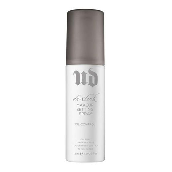 Urban Decay's De-Slick Oil Control Makeup Setting Spray controls shine and oil even on the most stressful days.