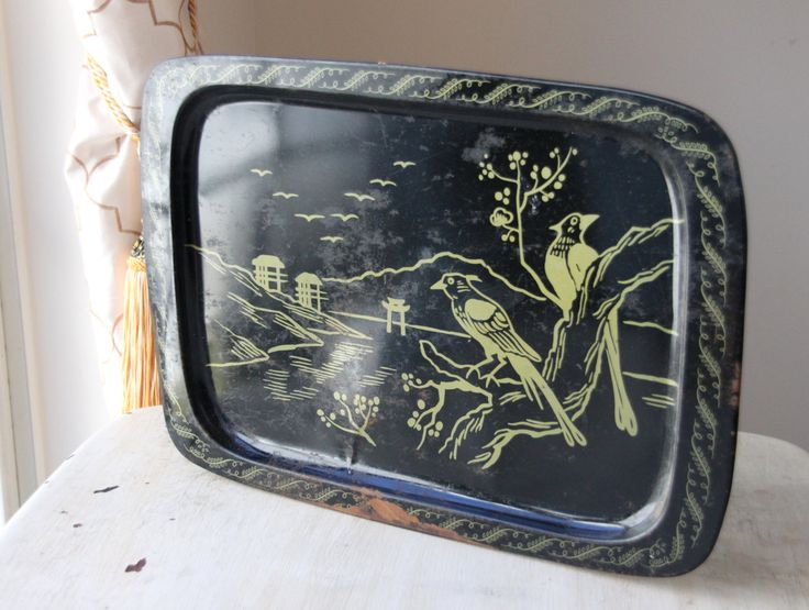 Asian Serving Tray, Black Metal Oriental Decorative Tray, 1960s, Black and Gold, Dresser Vanity, TV Tray, Wall Hanging, Glam, $12.00 on Etsy