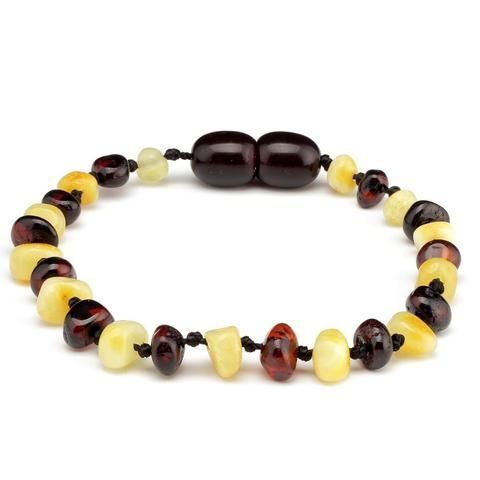 Amber Teething Bracelet Polished Baroque Cherry and Milk 14cm