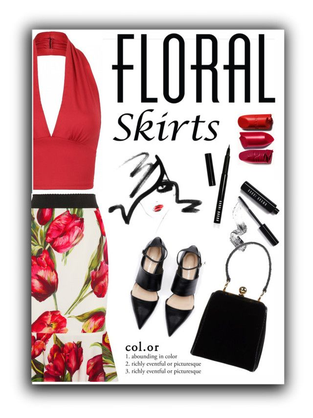 """""""Floral Skirts"""" by defineyourstyle ❤ liked on Polyvore featuring Dolce&Gabbana, Bobbi Brown Cosmetics and Floralskirts"""